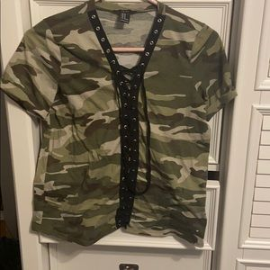 Forever 21 Camo Lace Up T-shirt